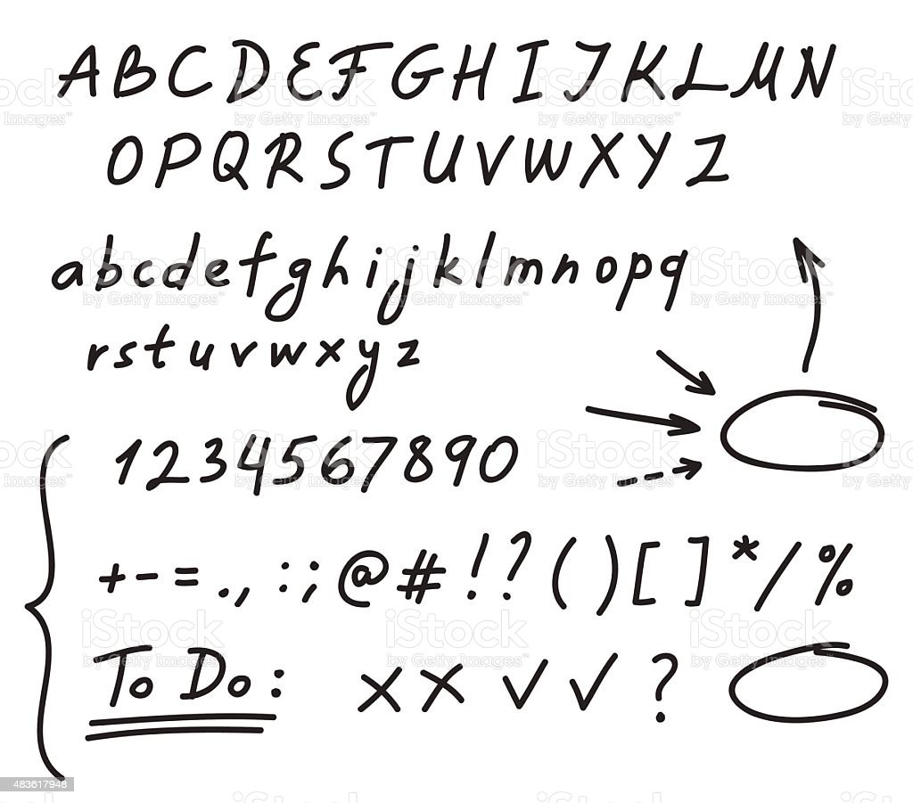 Handwriting alphabet vector art illustration