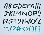 Bold handwriting font including some symbols and capital letters. EPS 10 file. Transparency effects used on highlight elements.