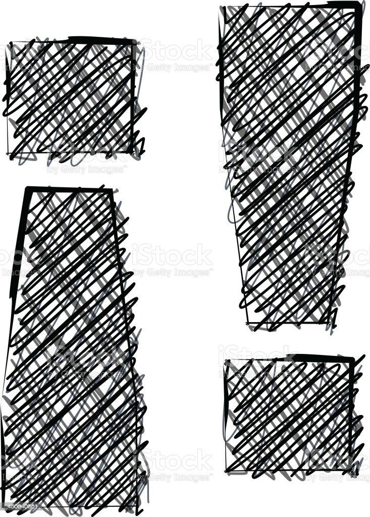 Handwriting Exclamation mark royalty-free stock vector art