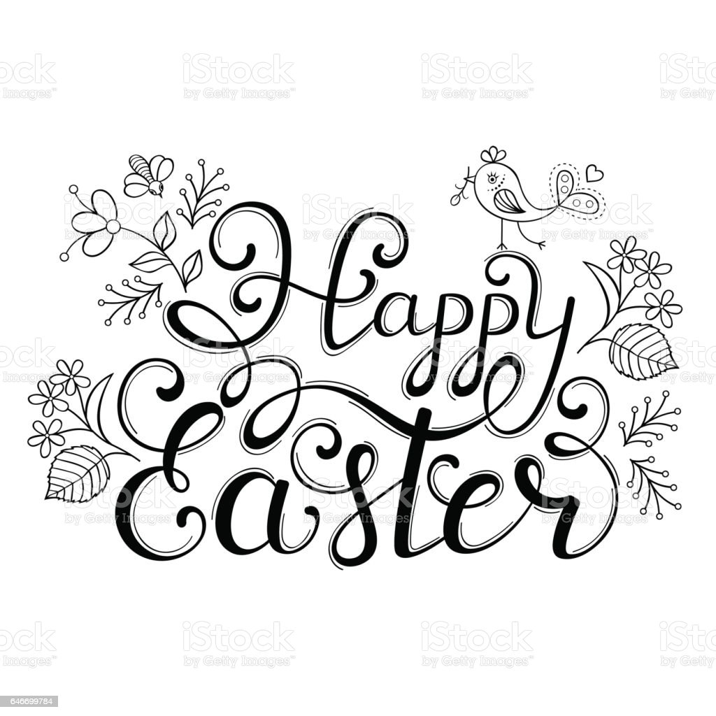 handwriting inscription happy easter stock vector art 646699784