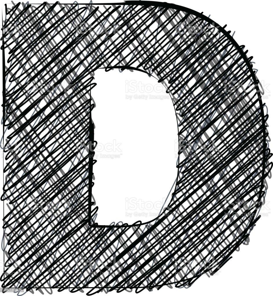 Handwriting letter D royalty-free stock vector art