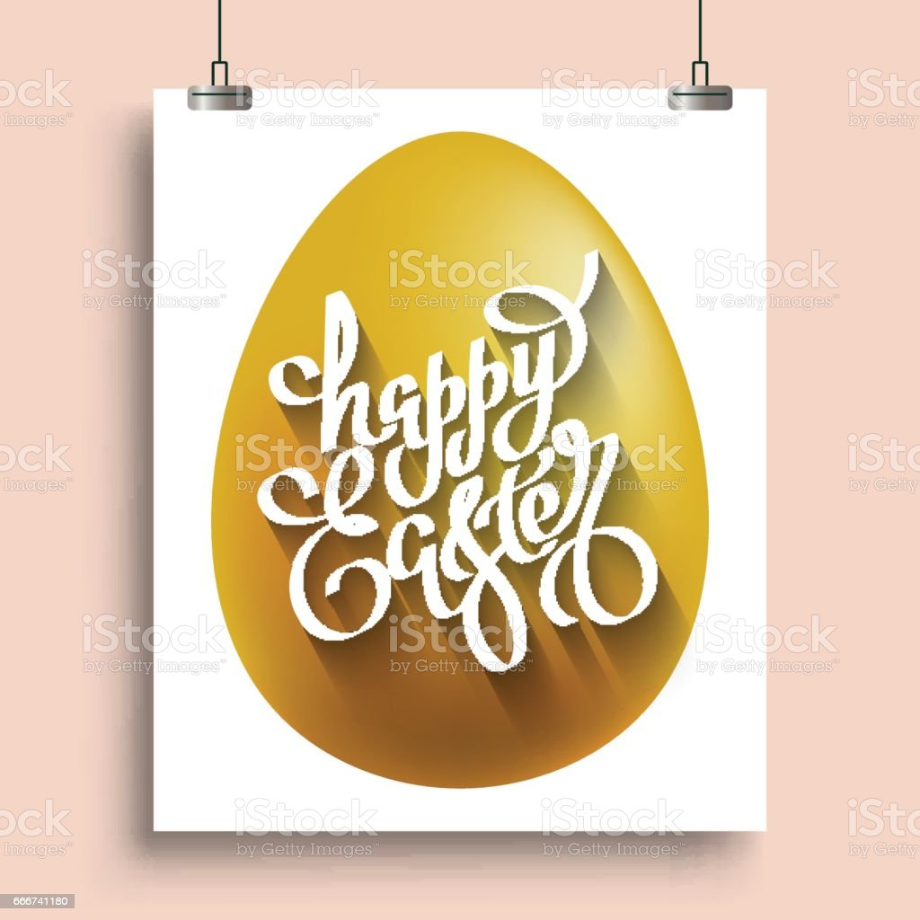 handwriting lettering Happy Easter on the placat with the gold egg handwriting lettering happy easter on the placat with the gold egg - immagini vettoriali stock e altre immagini di arte royalty-free