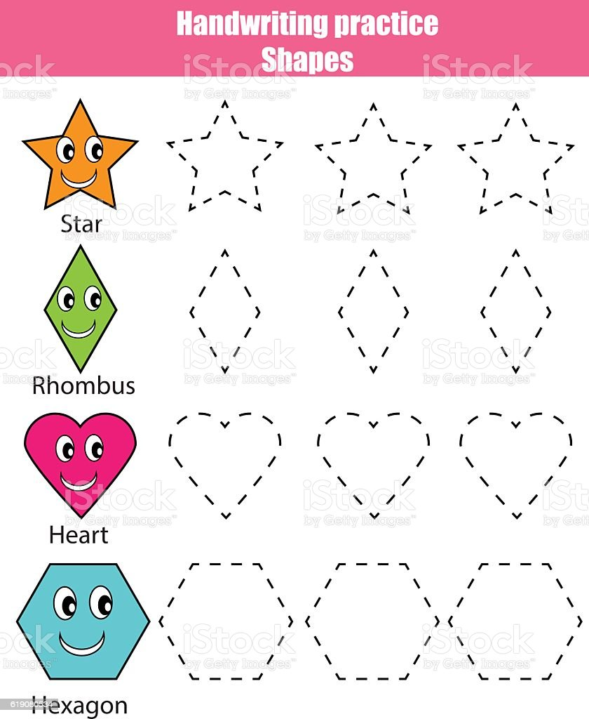 handwriting practice sheet educational children game learning shapes