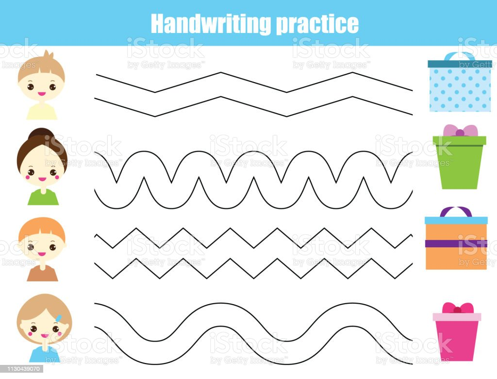 Handwriting Practice Sheet Educational Children Game ...