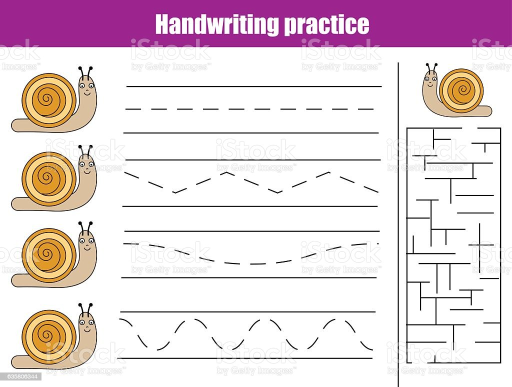 Handwriting Practice Sheet Educational Children Game Printable Worksheet  For Kids Stock Illustration - Download Image Now