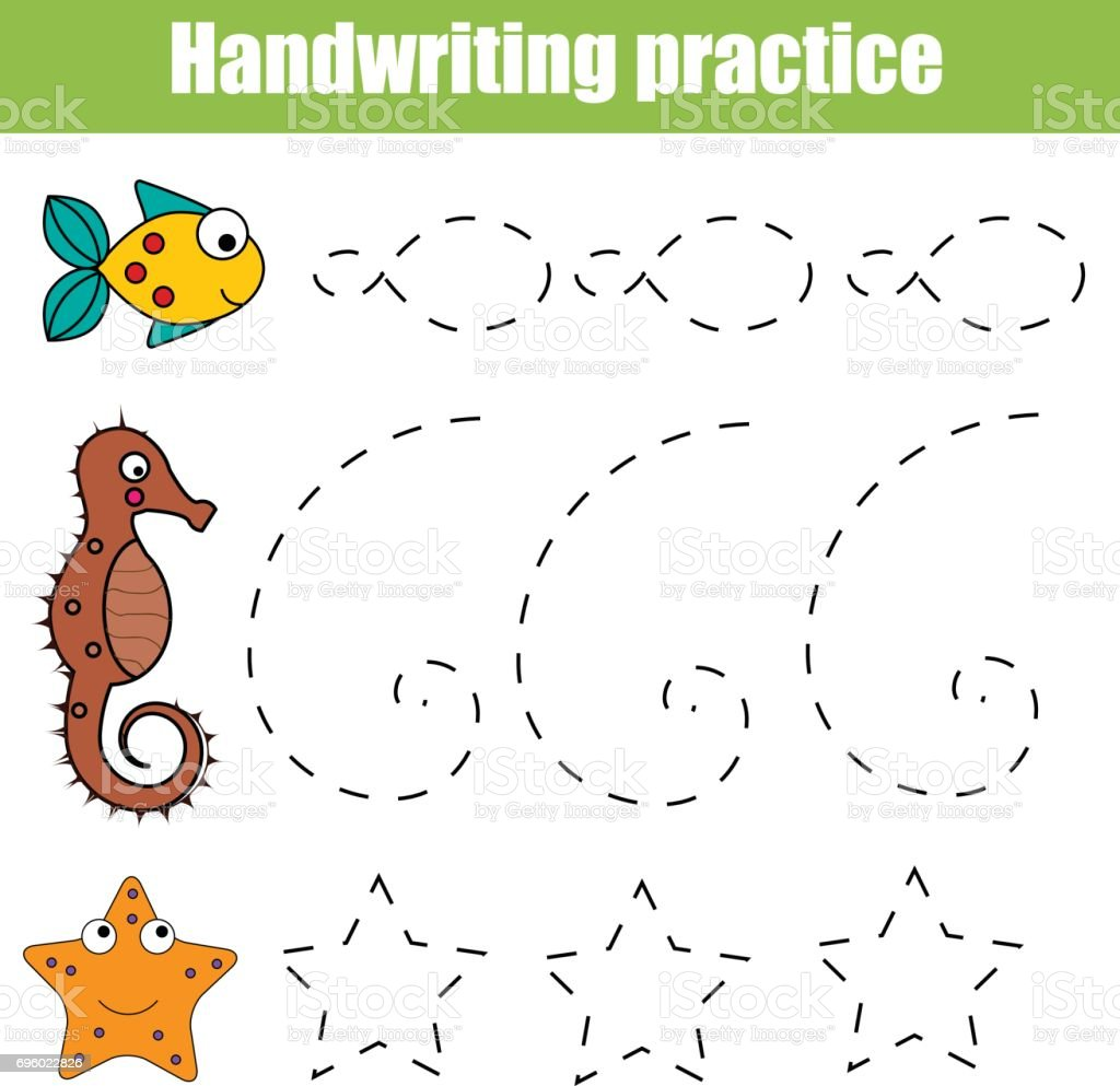handwriting practice sheet educational children game printable worksheet for kids with shapes royalty - Painting Sheet For Kids