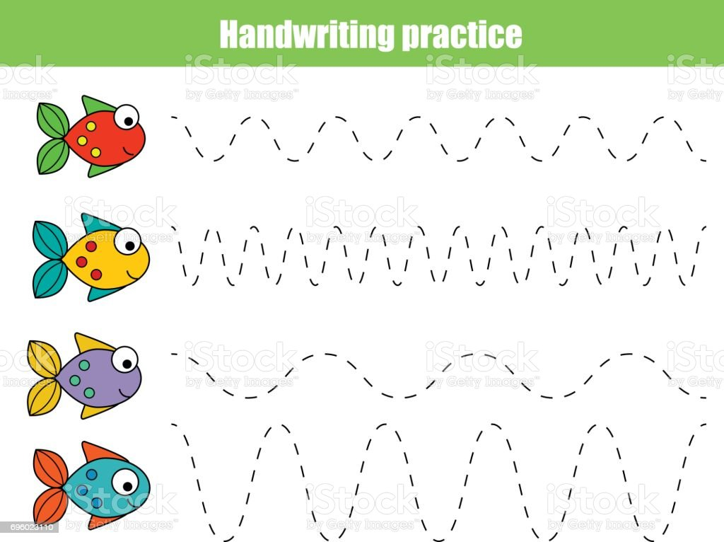handwriting practice sheet educational children game printable worksheet for kids with wavy lines and - Painting Sheet For Kids