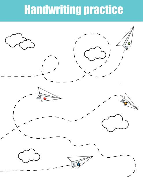 illustrations, cliparts, dessins animés et icônes de fiche pratique d'écriture. enfants éducatif jeu, imprimer feuille de calcul pour les enfants. formation de feuille imprimable avec pointillés d'écriture - nuage 6