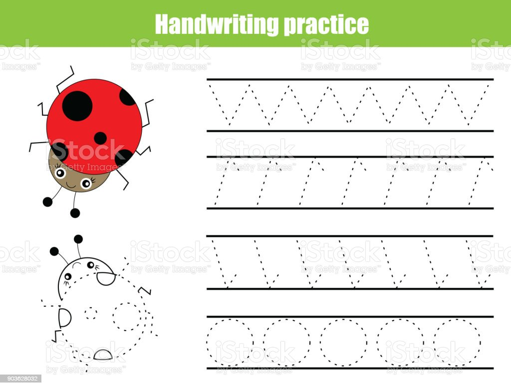 Beautiful Handwriting Practice Sheet. Educational Children Game, Printable Worksheet  For Kids. Writing Training,