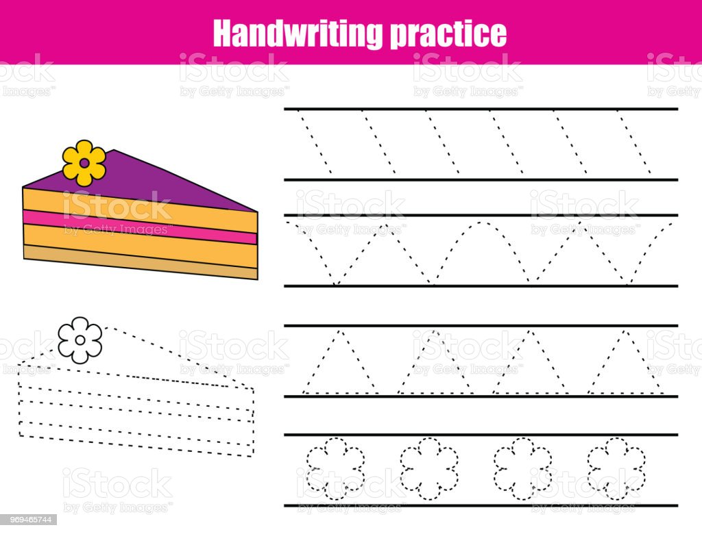 Handwriting Practice Sheet Educational Children Game Printable Worksheet  For Kids Tracing Lines Triangles Stock Illustration - Download Image Now