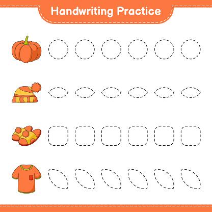 Handwriting practice. Tracing lines of Tshirt, Slippers, Pumpkin, and Hat. Educational children game, printable worksheet, vector illustration