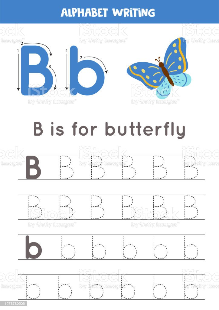 Handwriting Practice With Alphabet Letter Tracing B Stock Illustration -  Download Image Now - IStock