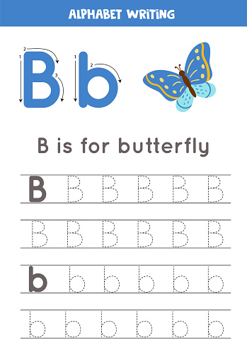 Handwriting practice with alphabet letter. Tracing B.