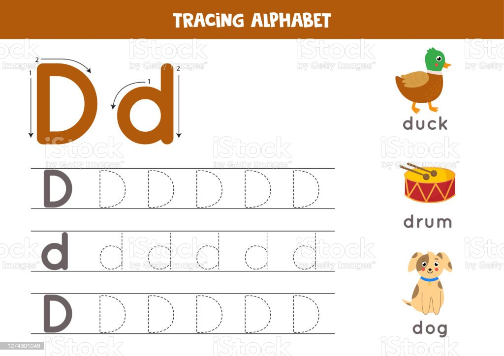 Handwriting Practice With Alphabet Letter Tracing D Stock Illustration -  Download Image Now - IStock