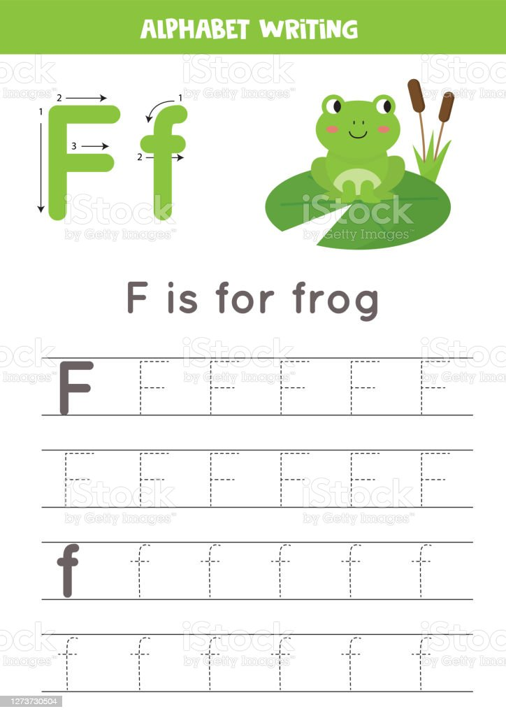 Handwriting Practice With Alphabet Letter Tracing F Stock Illustration -  Download Image Now - IStock