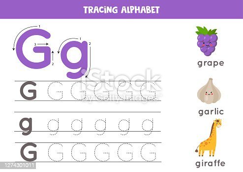 Handwriting practice with alphabet letter. Tracing G.