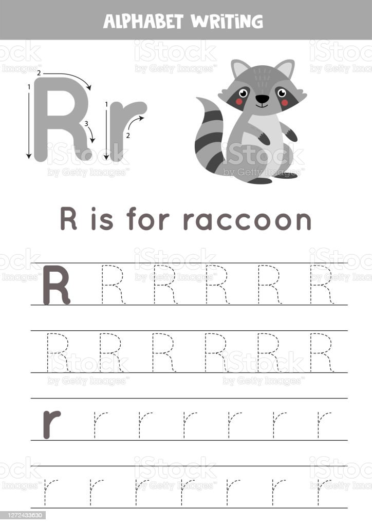 Handwriting Practice With Alphabet Letter Tracing R Stock Illustration -  Download Image Now - IStock