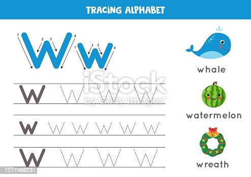 Handwriting practice with alphabet letter. Tracing W.