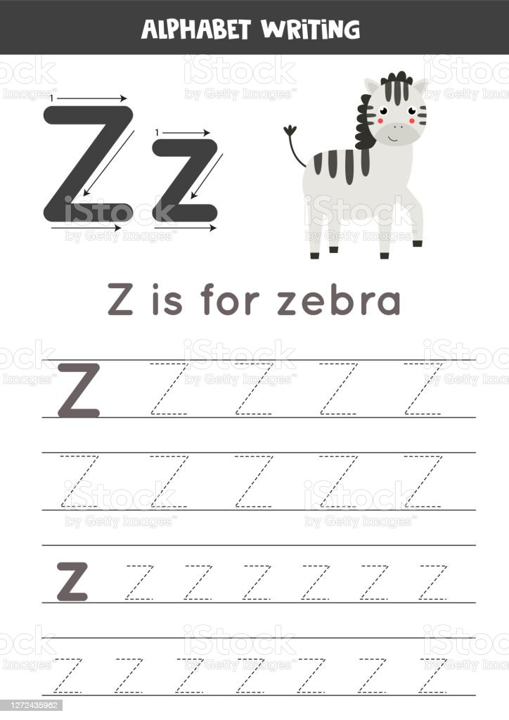 Handwriting Practice With Alphabet Letter Tracing Z Stock Illustration -  Download Image Now - IStock