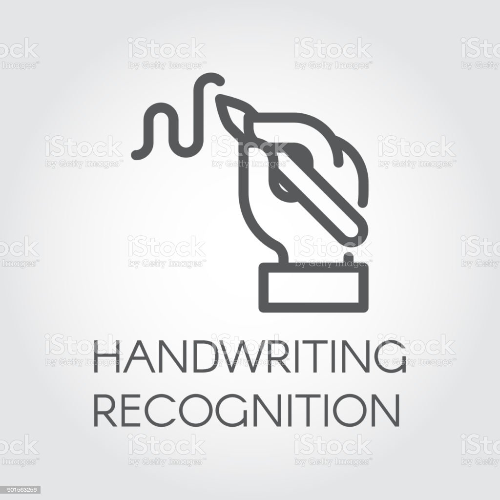 Handwriting recognition line icon. Hand holding pen and writing signature, image drawn in outline style. Linear label vector art illustration