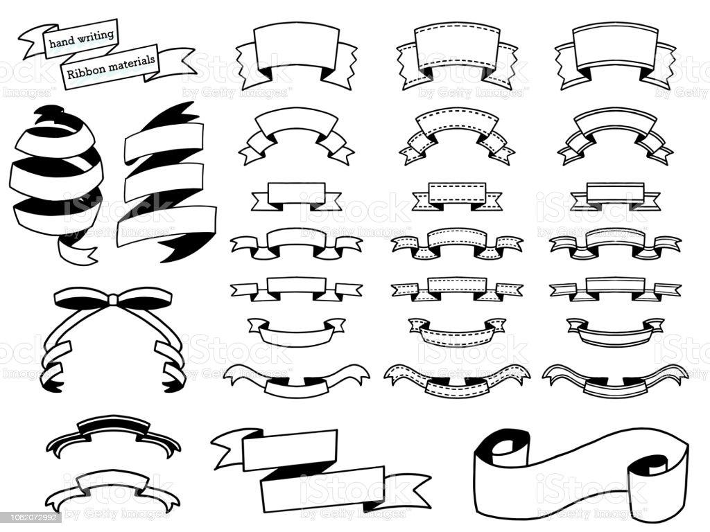 手書きのリボン デザインのマテリアル設定 ベクターアートイラスト