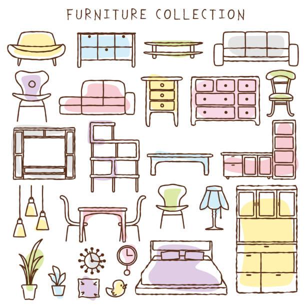 ilustrações de stock, clip art, desenhos animados e ícones de handwriting style interior icon. - sideboard
