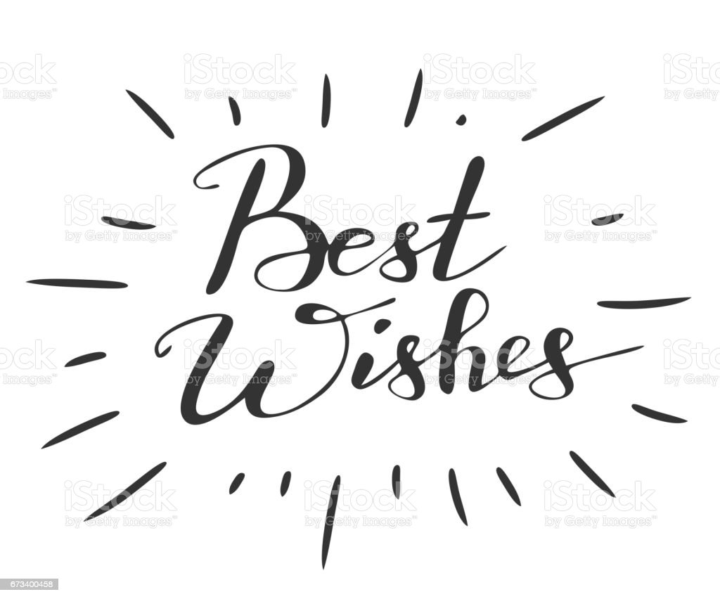 Handwriting Words Best Wishes On White Background Stock Vector Art ...