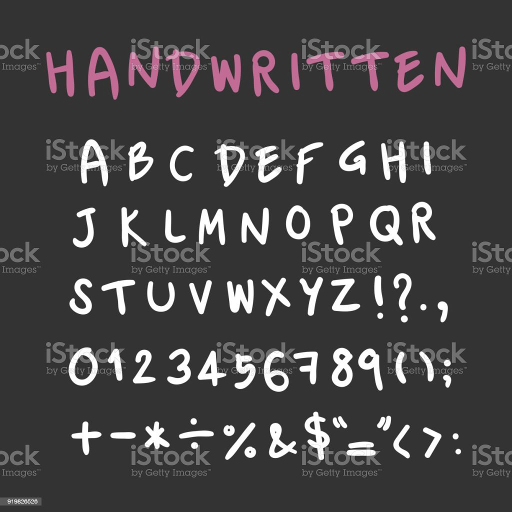 Handwritten Alphabet Capital Letters With Symbols Vector For Design
