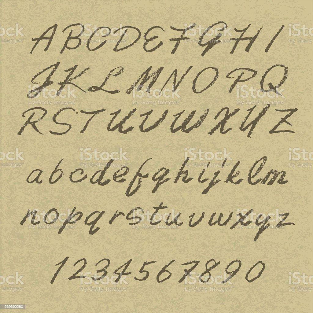 handwritten alphabets vector art illustration
