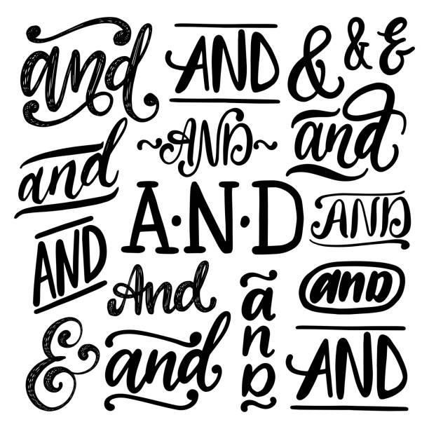 stockillustraties, clipart, cartoons en iconen met handgeschreven ampersands en voegwoorden en vector set. kalligrafische collectie van steekwoorden op witte achtergrond - borden en symbolen