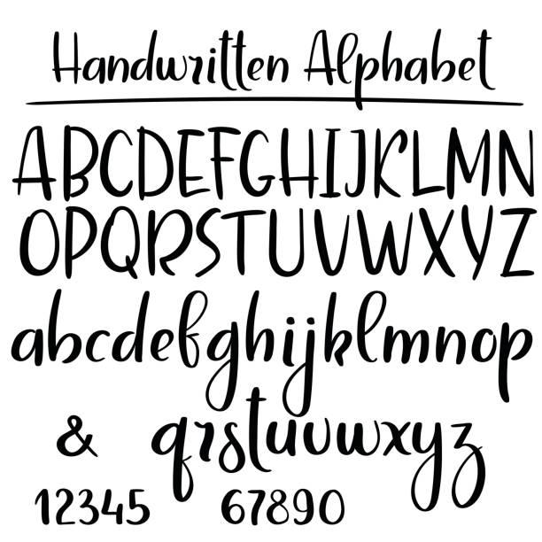 ilustraciones, imágenes clip art, dibujos animados e iconos de stock de abecedario manuscrita. fuente de vector caligrafía moderna - tipos de letra y tipografía
