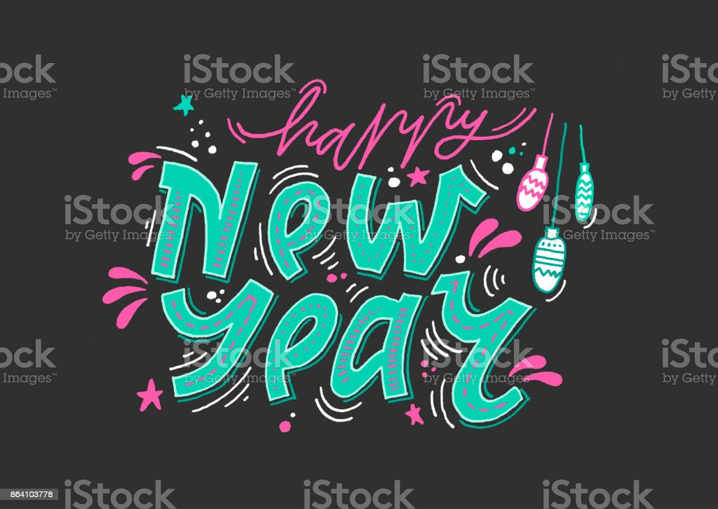 Handwritten blue inscription 'Happy New Year' with decorative elements on black background. royalty-free handwritten blue inscription happy new year with decorative elements on black background stock vector art & more images of black color