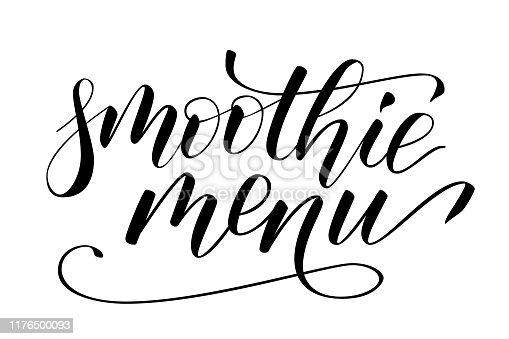 Handwritten modern brush calligraphy smoothie menu isolated on white. Vector illustration.