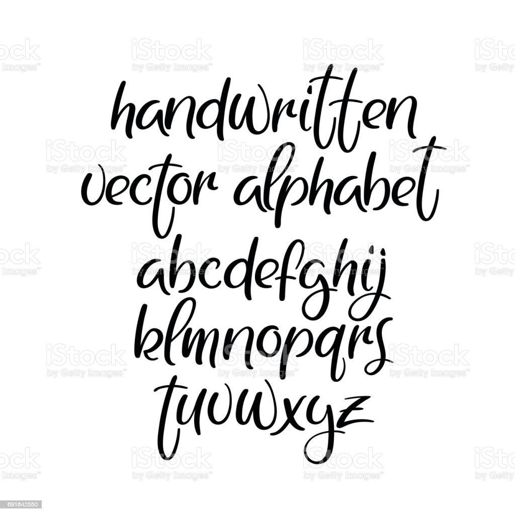 Handwritten brush font brushpen vector alphabet modern
