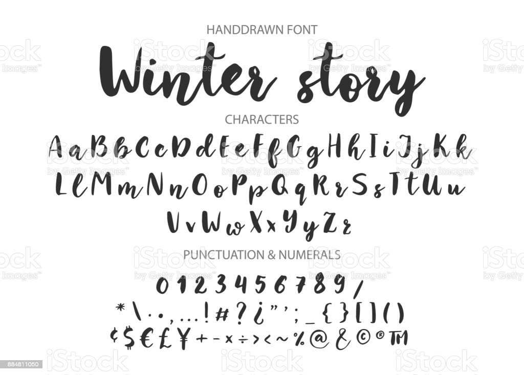 Handwritten Brush font. Hand drawn brush style modern calligraphy vector art illustration