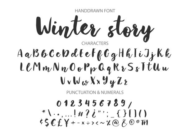 Handwritten Brush font. Hand drawn brush style modern calligraphy Winter story. Handwritten Brush font for lettering quotes. Hand drawn brush style modern calligraphy. handwriting stock illustrations