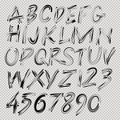 Handwritten brush font, letters and numbers, vector illustration