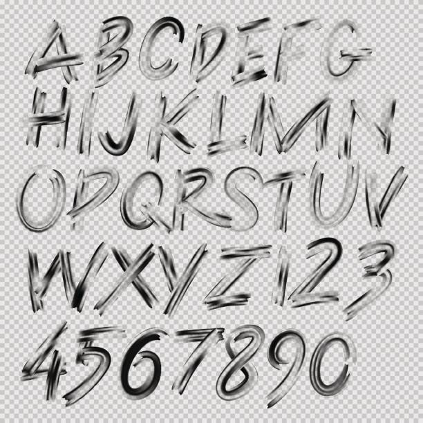 Handwritten brush font, letters and numbers vector art illustration