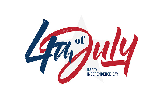 Handwritten brush lettering of 4th of July on white background. Happy Independence Day.