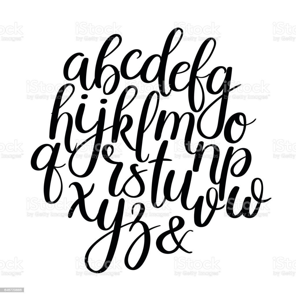 Handwritten Brush Letters. ABC. Modern Calligraphy. Hand Lettering Vector Alphabet vector art illustration