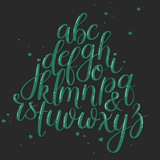 Cepillo mano de cartas. ABC. Caligrafía moderna. Mano Letras Vector alfabeto - ilustración de arte vectorial