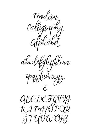 Handwritten Brush Letters Abc Modern Calligraphy Hand