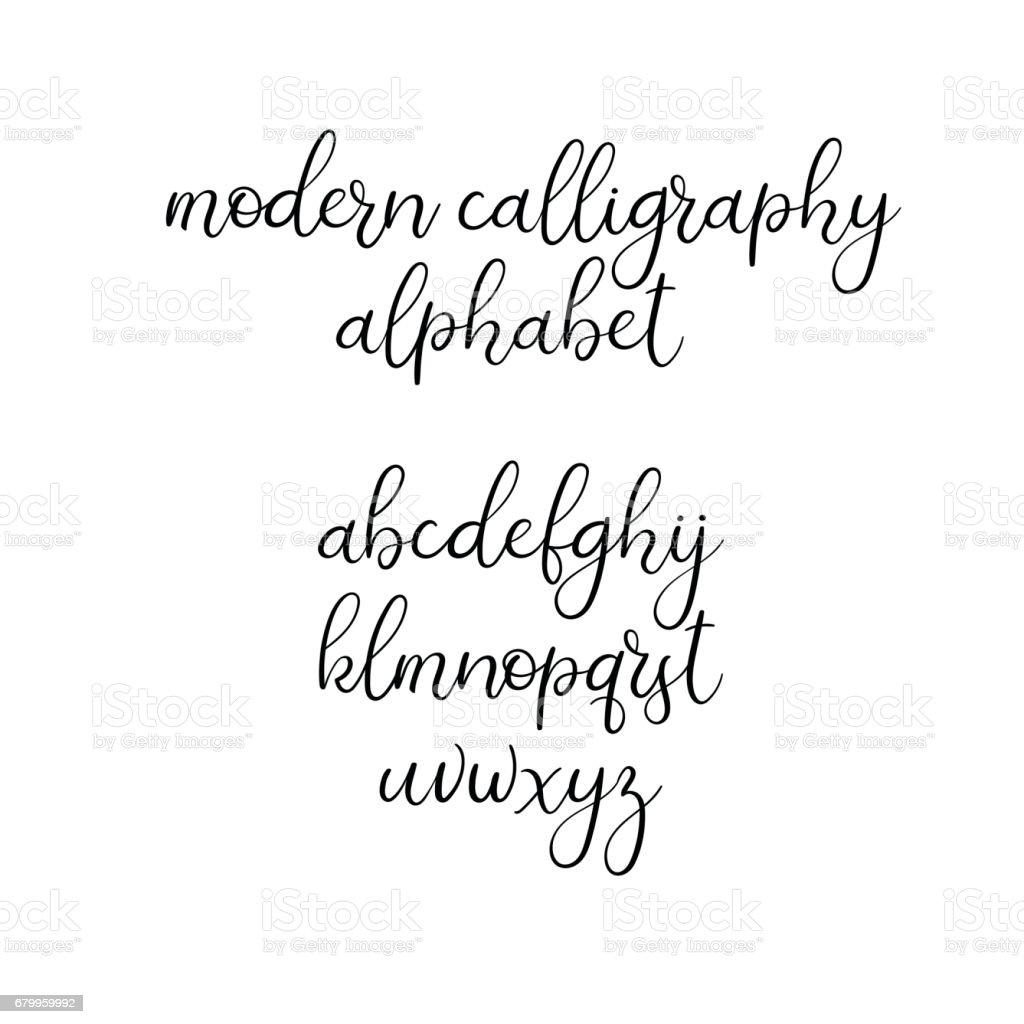 Handwritten Brush Letters ABC Modern Calligraphy Hand Lettering Vector Alphabet Royalty Free