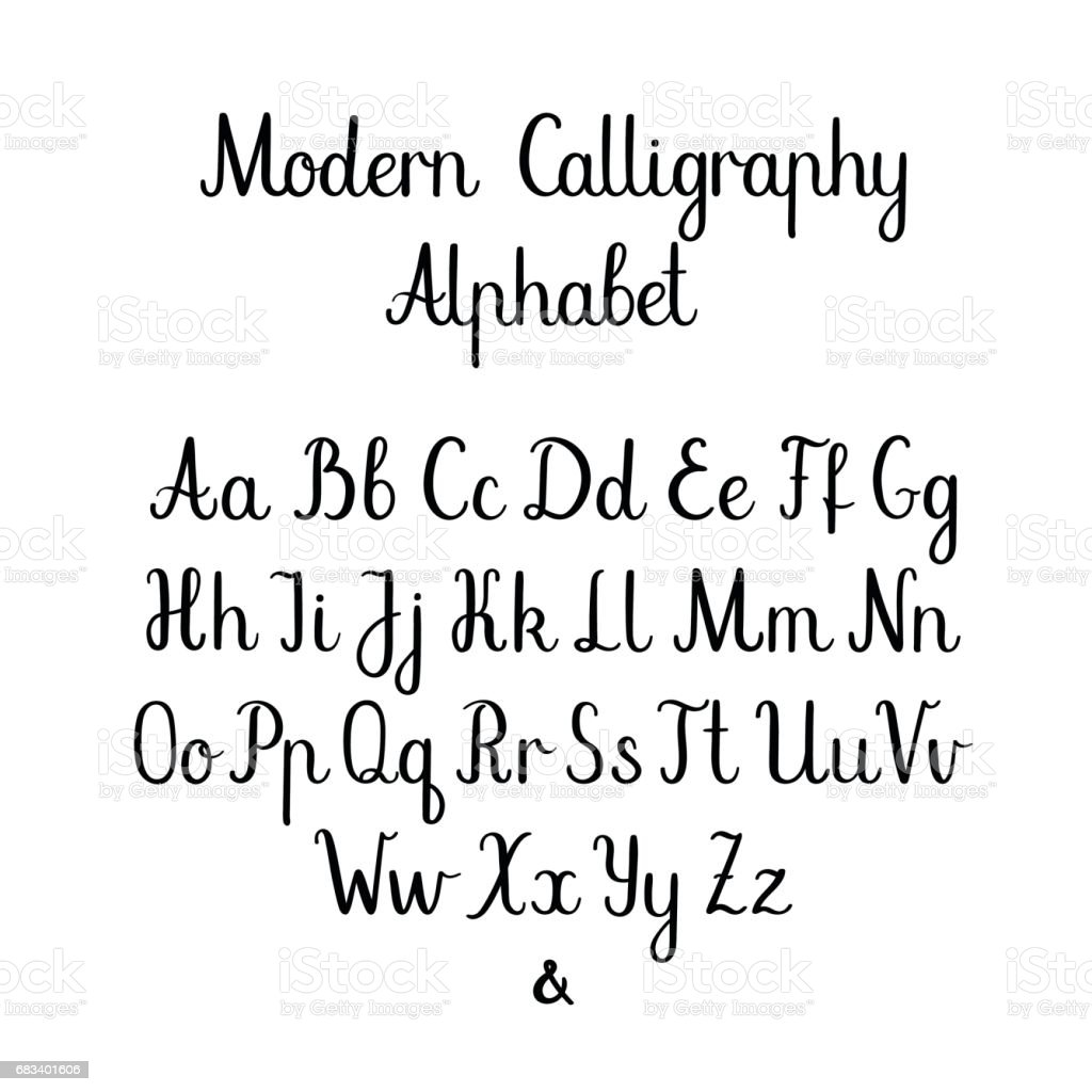 Handwritten brush letters abc modern calligraphy hand