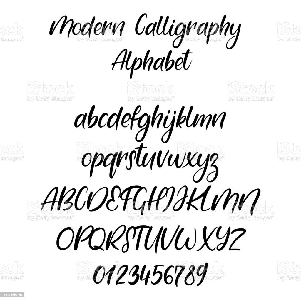 El Yazısı Fırça Harfler Abc Modern Hat El Yazı Vektör Alfabesi Stok