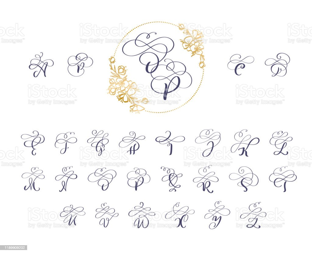Handwritten Brush Style Modern Calligraphy Cursive Font With Flourishes Wreath Calligraphy Monogram Alphabet Cute Isolated Letters For Postcard Or Poster Decorative Graphic Design Stock Illustration Download Image Now Istock
