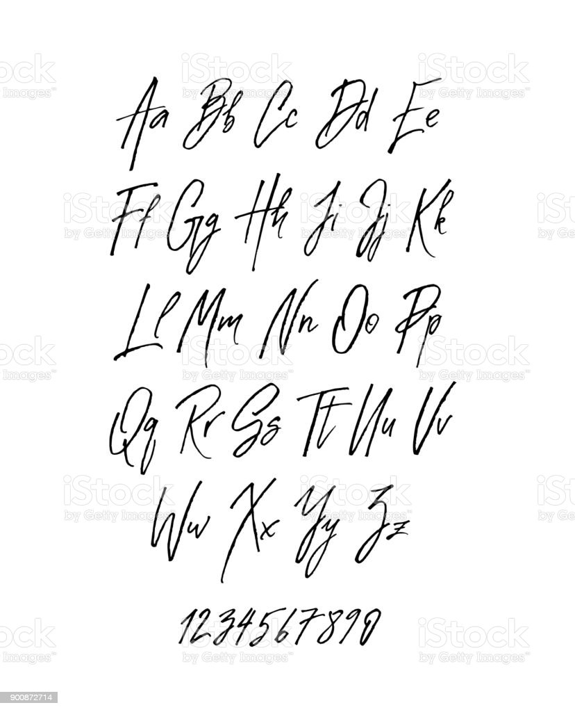 Handwritten Brush Style Modern Cursive Font Isolated On White Background Royalty Free