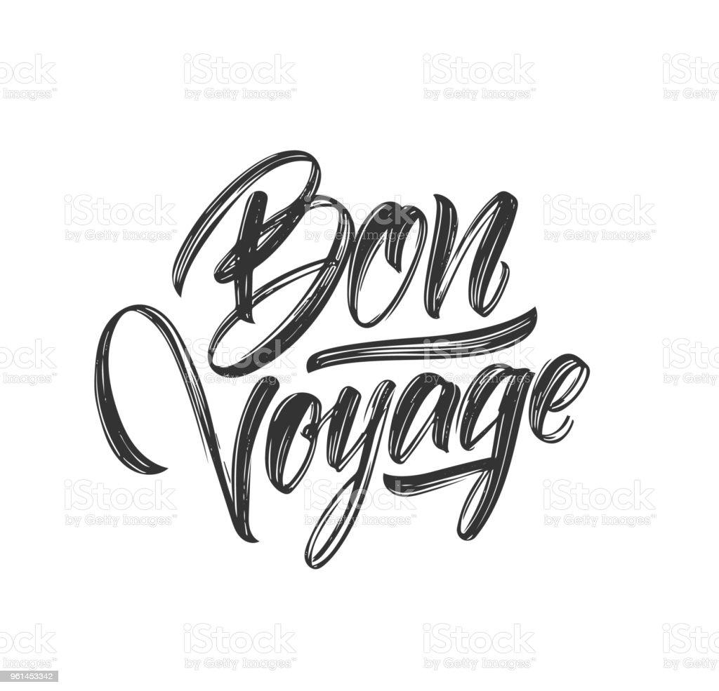 Brosse à main type lettrage de Bon Voyage sur fond blanc - Illustration vectorielle