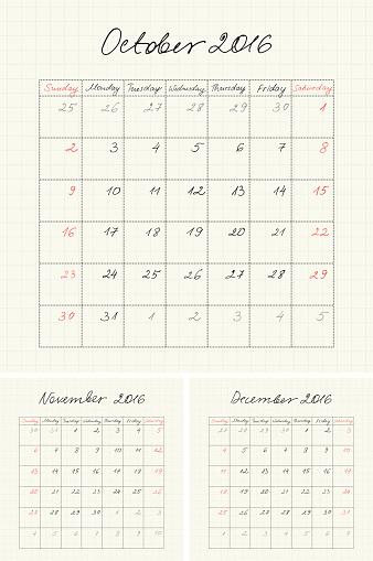 Handwritten Calendar for 2016