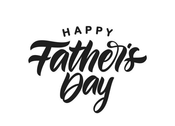 ilustrações, clipart, desenhos animados e ícones de letra caligráfica manuscrita do tipo da escova do dia de pai feliz no fundo branco. - feliz dia dos pais